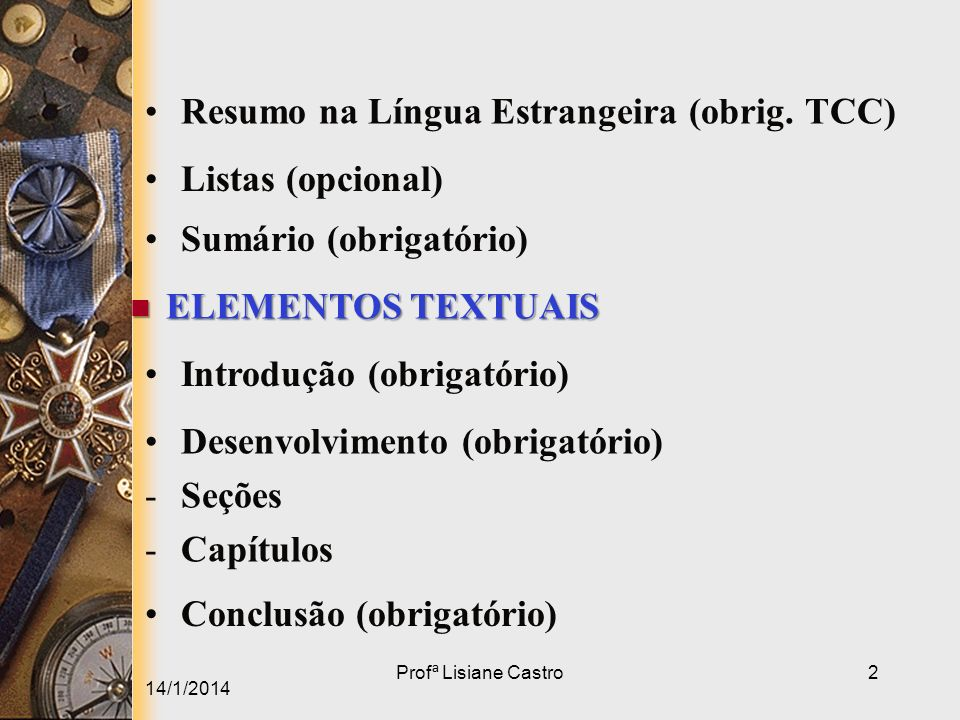 Resumo na Língua Estrangeira (obrig. TCC)