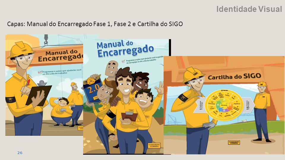 Identidade Visual Capas: Manual do Encarregado Fase 1, Fase 2 e Cartilha do SIGO