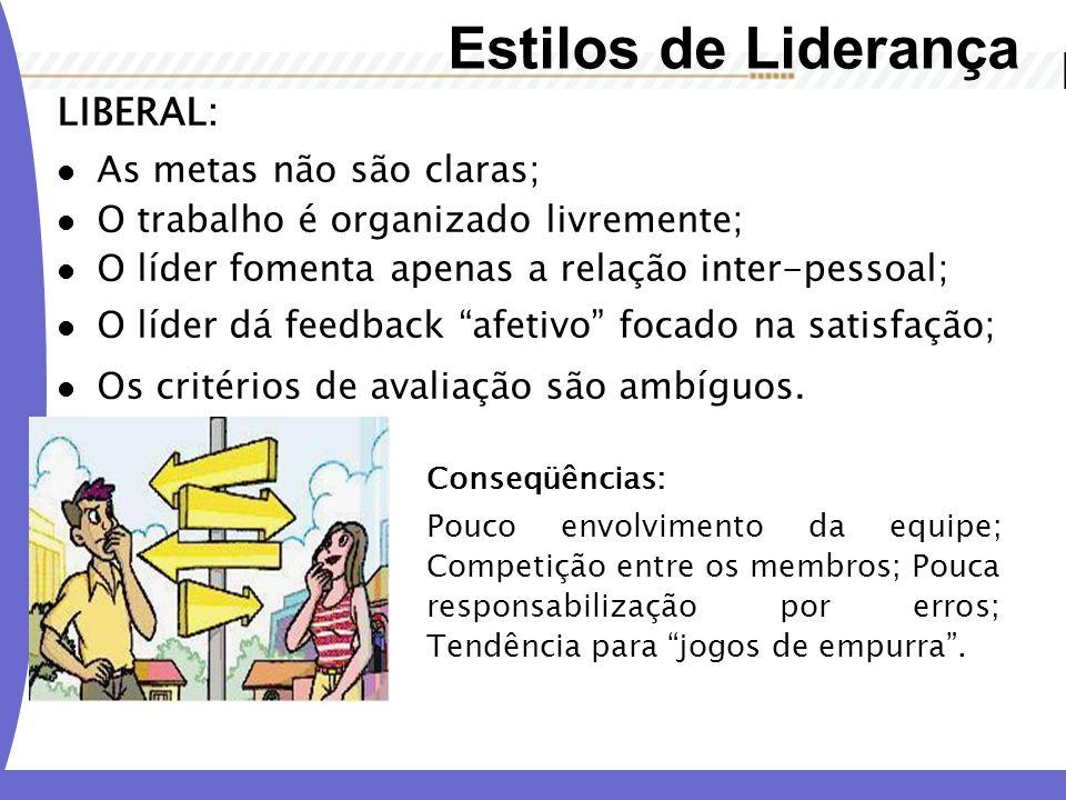 Estilos de Liderança LIBERAL: As metas não são claras;