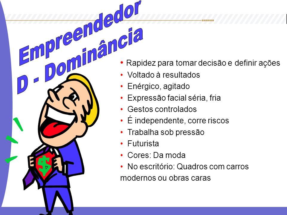 Empreendedor D - Dominância Rapidez para tomar decisão e definir ações