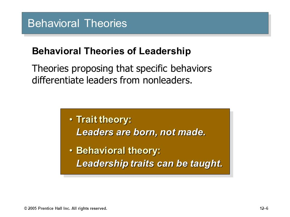 Behavioral Theories Behavioral Theories of Leadership