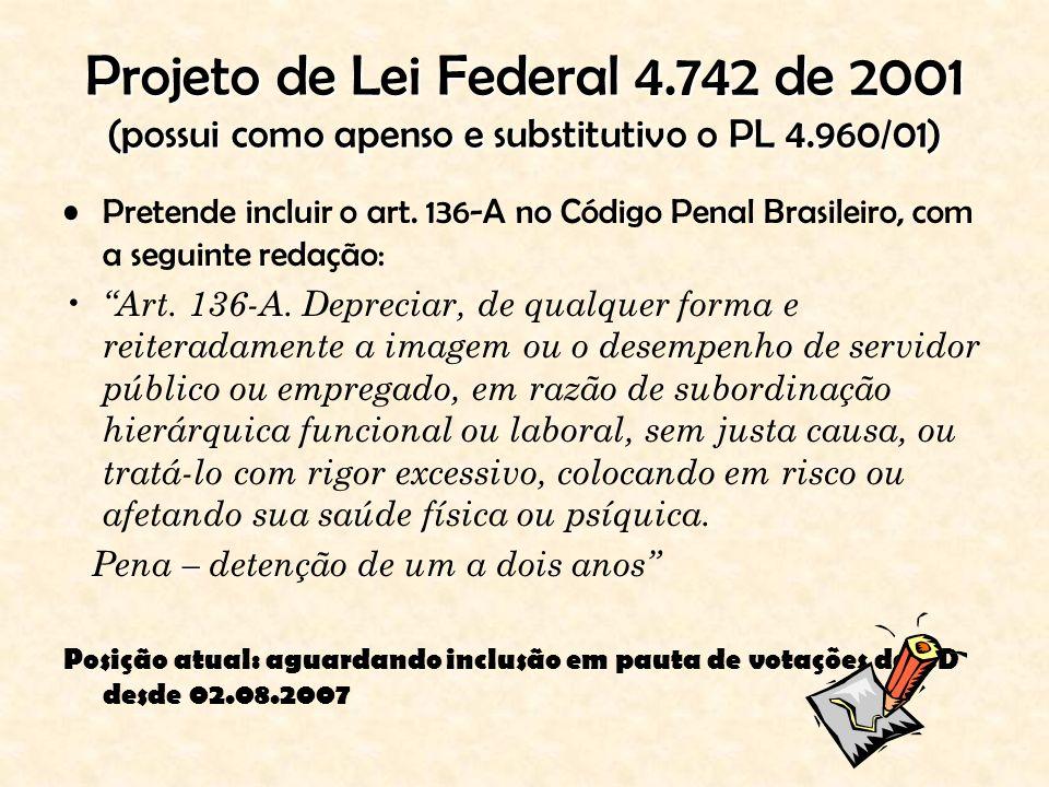 Projeto de Lei Federal 4.742 de 2001 (possui como apenso e substitutivo o PL 4.960/01)