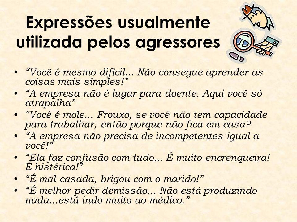 Expressões usualmente utilizada pelos agressores