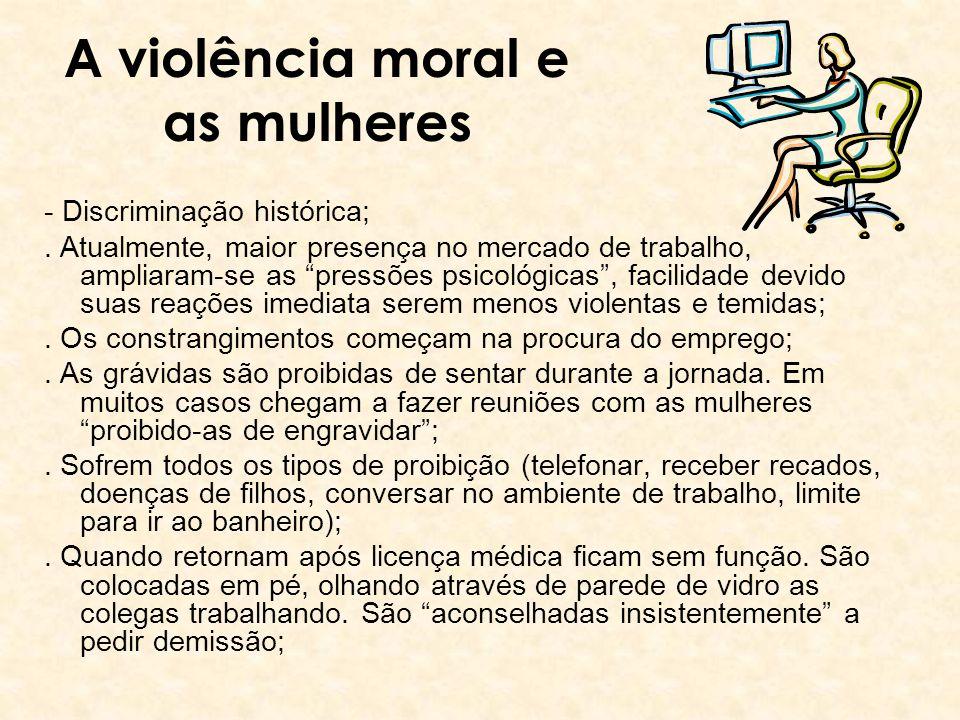 A violência moral e as mulheres