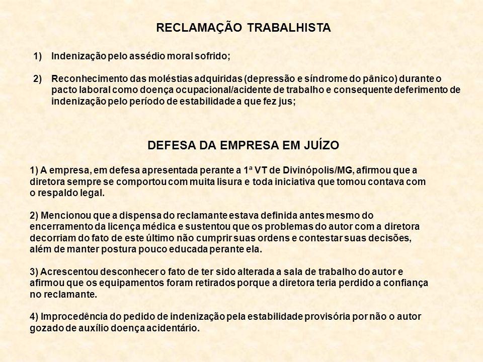 RECLAMAÇÃO TRABALHISTA DEFESA DA EMPRESA EM JUÍZO