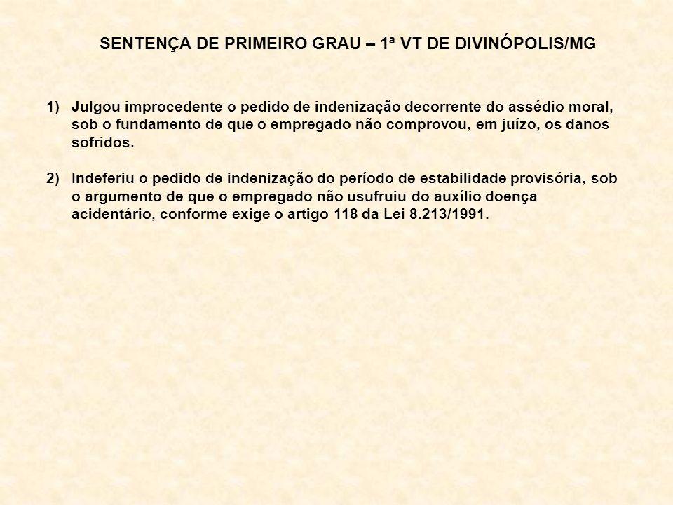 SENTENÇA DE PRIMEIRO GRAU – 1ª VT DE DIVINÓPOLIS/MG