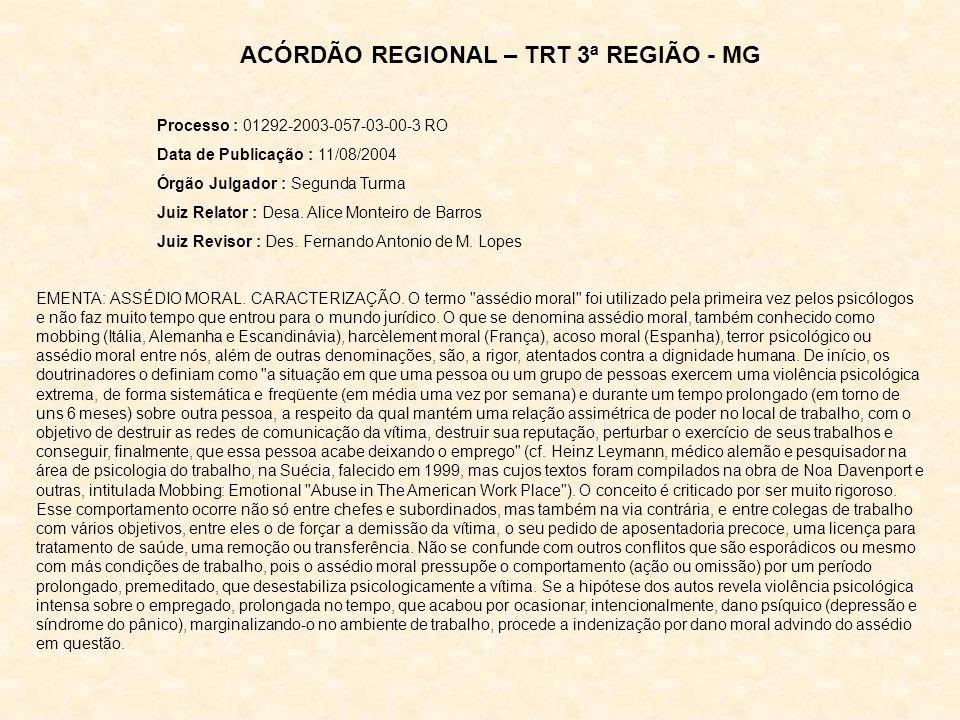 ACÓRDÃO REGIONAL – TRT 3ª REGIÃO - MG