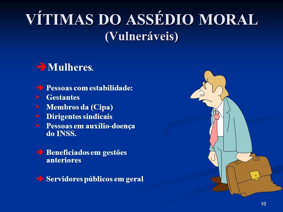 VÍTIMAS DO ASSÉDIO MORAL (Vulneráveis)