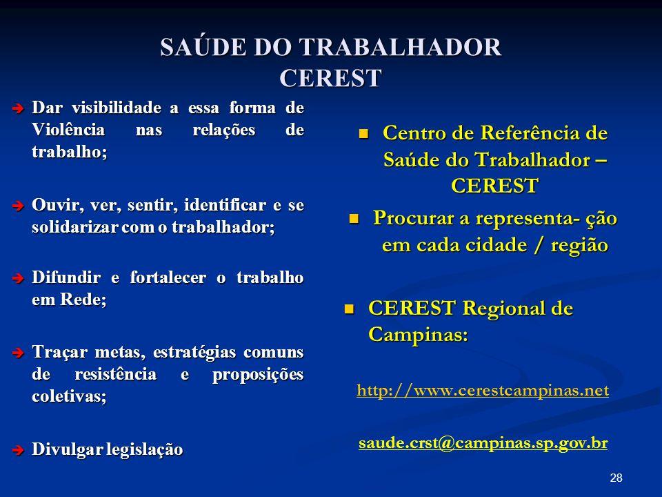 SAÚDE DO TRABALHADOR CEREST