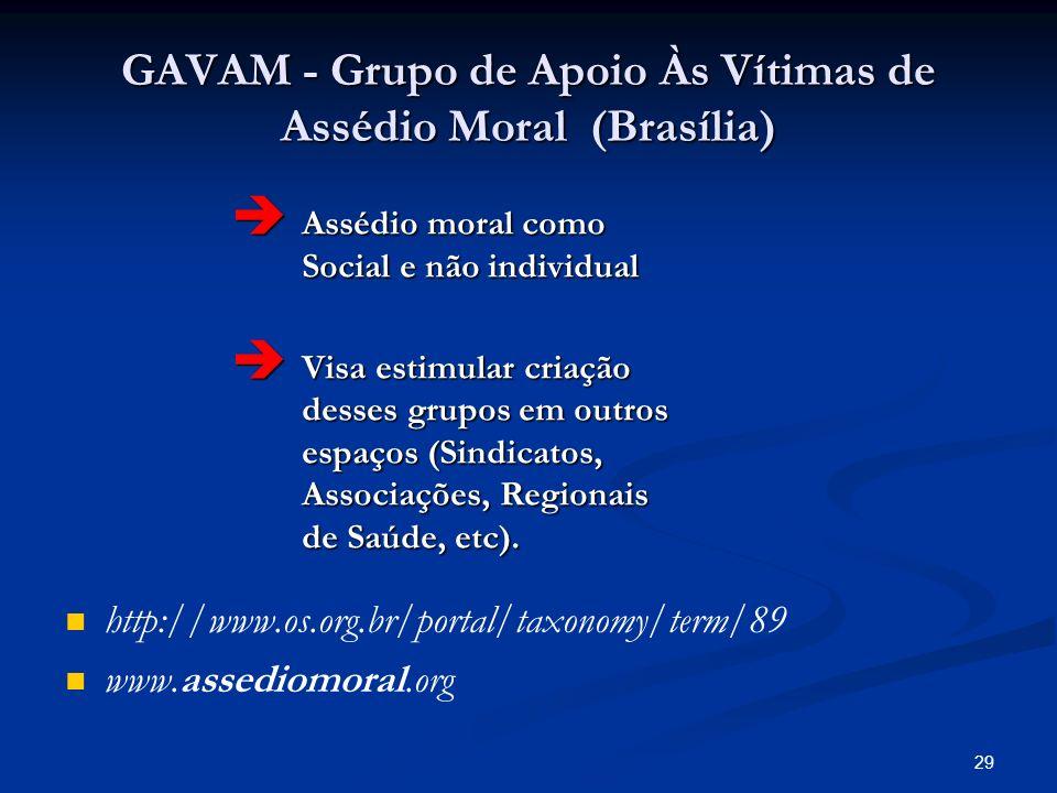 GAVAM - Grupo de Apoio Às Vítimas de Assédio Moral (Brasília)