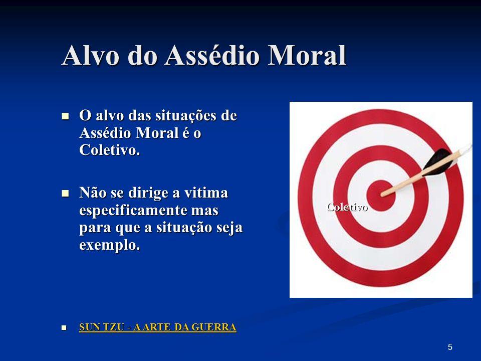 Alvo do Assédio MoralO alvo das situações de Assédio Moral é o Coletivo.