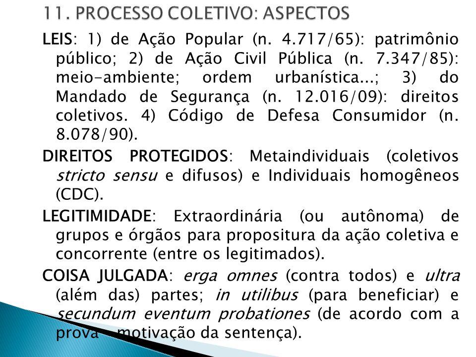 11. PROCESSO COLETIVO: ASPECTOS