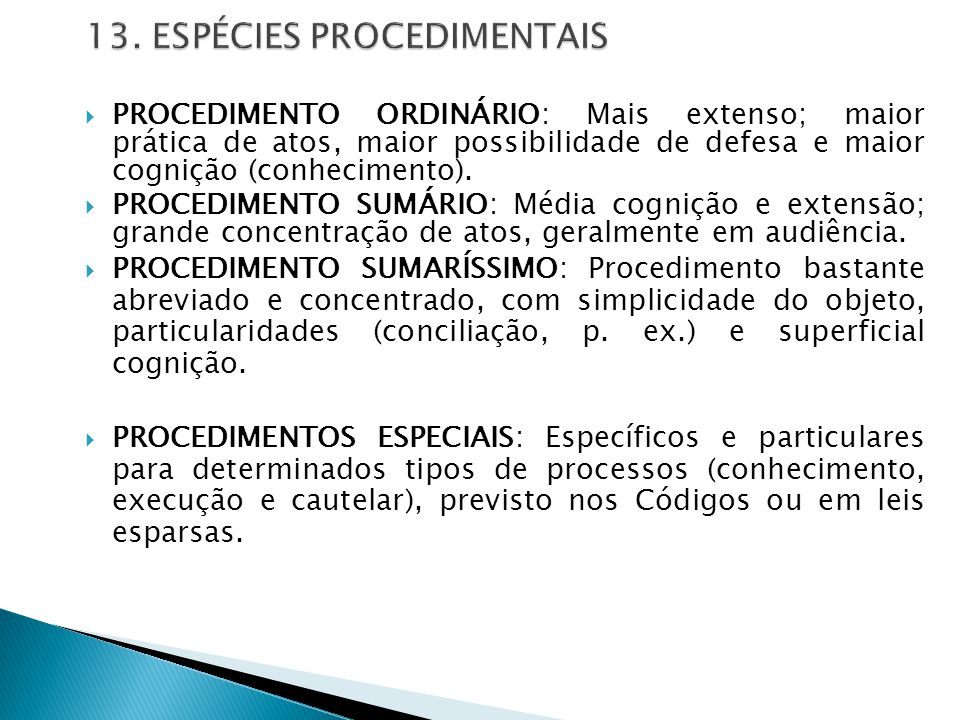 13. ESPÉCIES PROCEDIMENTAIS