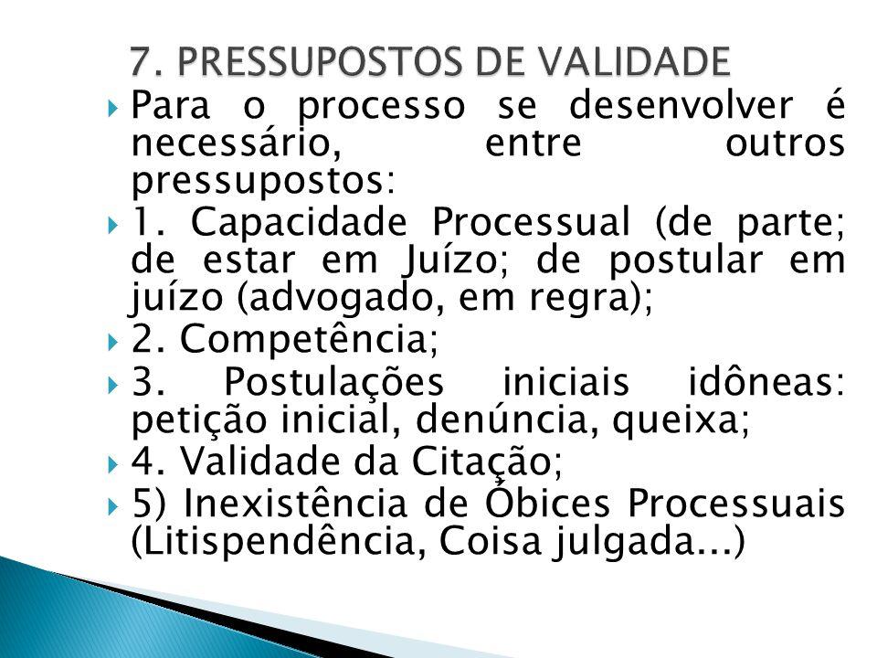 7. PRESSUPOSTOS DE VALIDADE