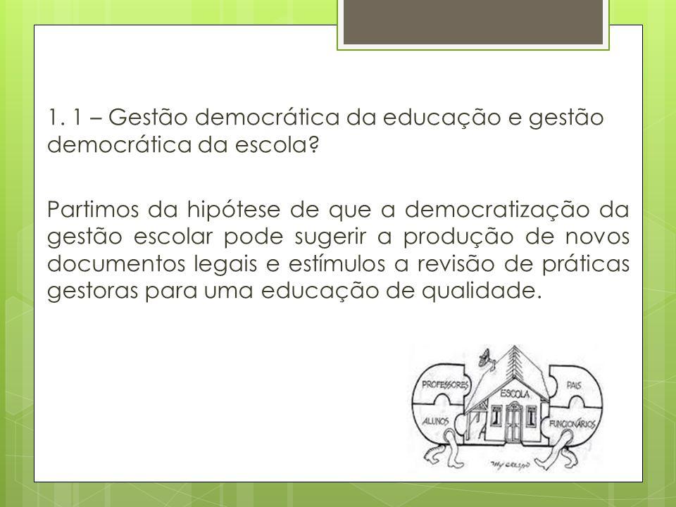 1. 1 – Gestão democrática da educação e gestão democrática da escola
