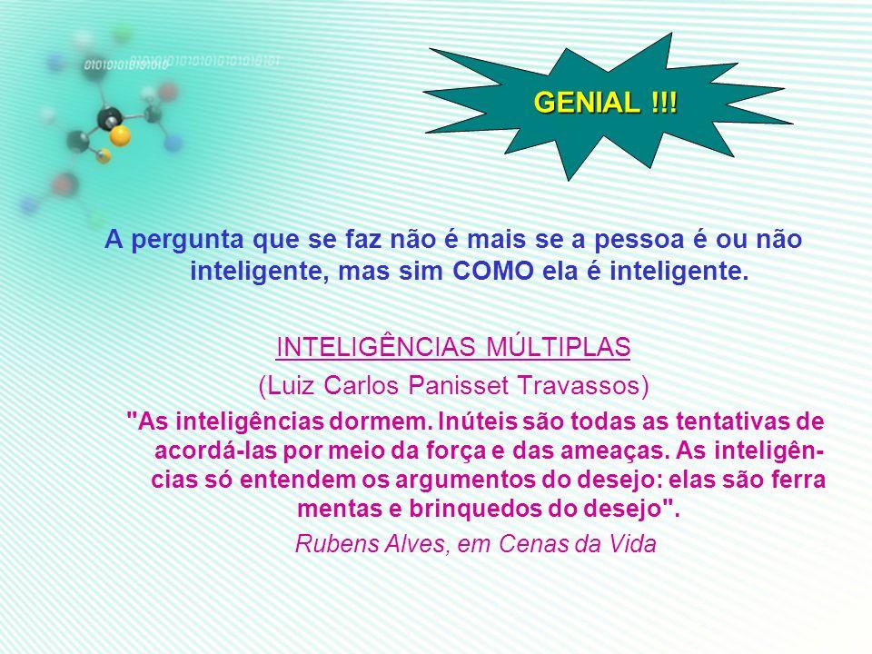 GENIAL !!! A pergunta que se faz não é mais se a pessoa é ou não inteligente, mas sim COMO ela é inteligente.