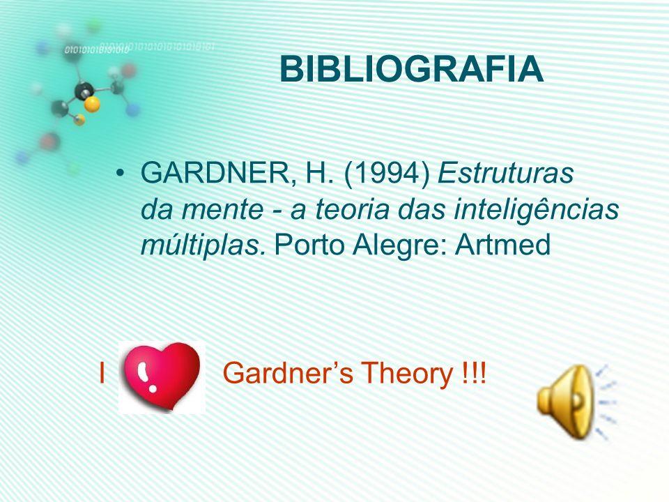 BIBLIOGRAFIA GARDNER, H. (1994) Estruturas da mente - a teoria das inteligências múltiplas. Porto Alegre: Artmed.