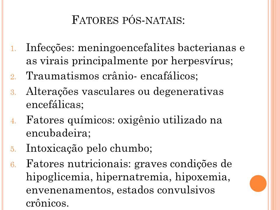 Fatores pós-natais: Infecções: meningoencefalites bacterianas e as virais principalmente por herpesvírus;
