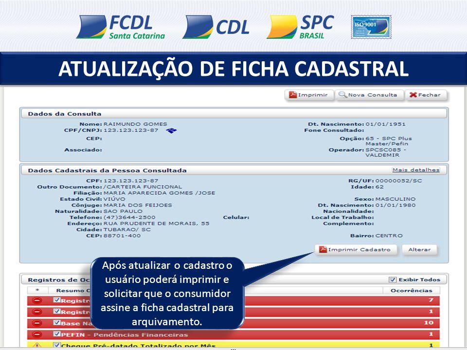 ATUALIZAÇÃO DE FICHA CADASTRAL