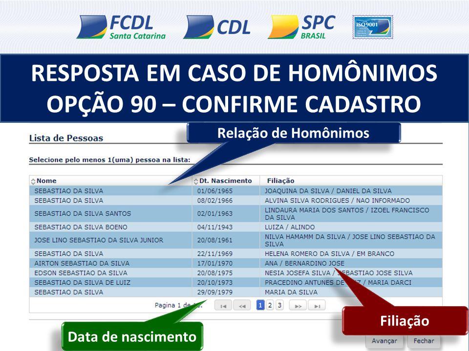 RESPOSTA EM CASO DE HOMÔNIMOS OPÇÃO 90 – CONFIRME CADASTRO