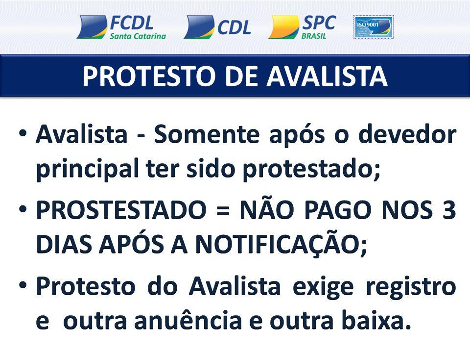 PROTESTO DE AVALISTA Avalista - Somente após o devedor principal ter sido protestado; PROSTESTADO = NÃO PAGO NOS 3 DIAS APÓS A NOTIFICAÇÃO;