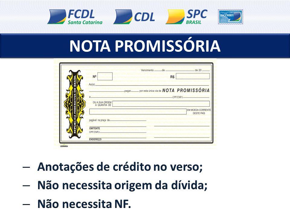 NOTA PROMISSÓRIA Anotações de crédito no verso;