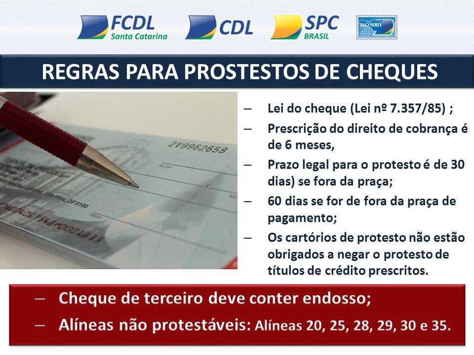 REGRAS PARA PROSTESTOS DE CHEQUES