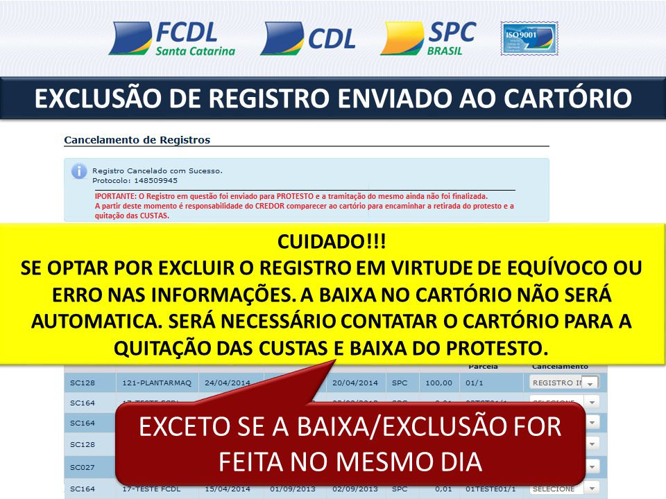 EXCLUSÃO DE REGISTRO ENVIADO AO CARTÓRIO