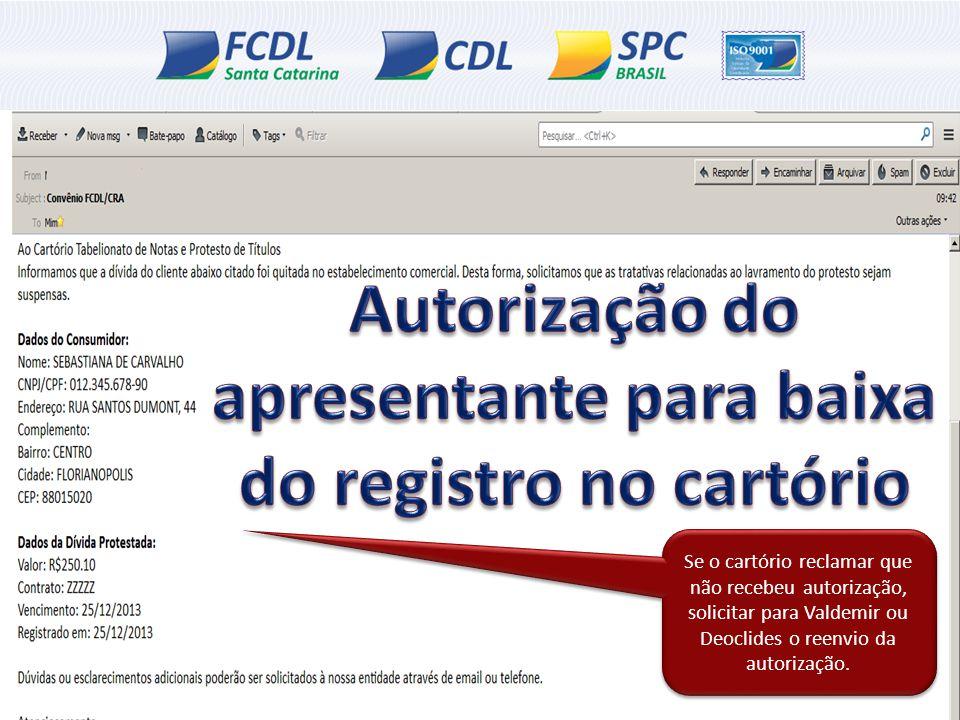 Autorização do apresentante para baixa do registro no cartório