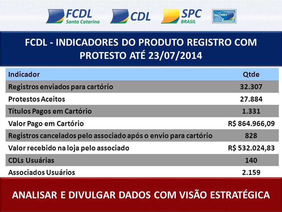 FCDL - INDICADORES DO PRODUTO REGISTRO COM PROTESTO ATÉ 23/07/2014