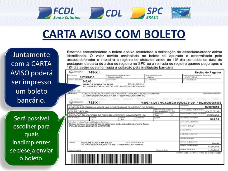 Juntamente com a CARTA AVISO poderá ser impresso um boleto bancário.