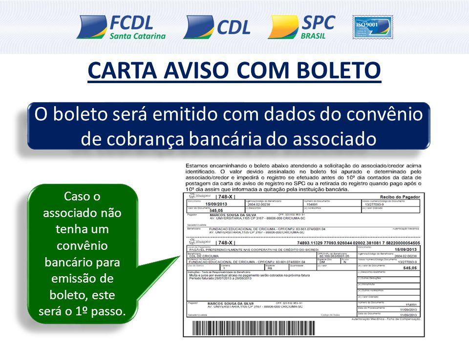 CARTA AVISO COM BOLETO O boleto será emitido com dados do convênio de cobrança bancária do associado.