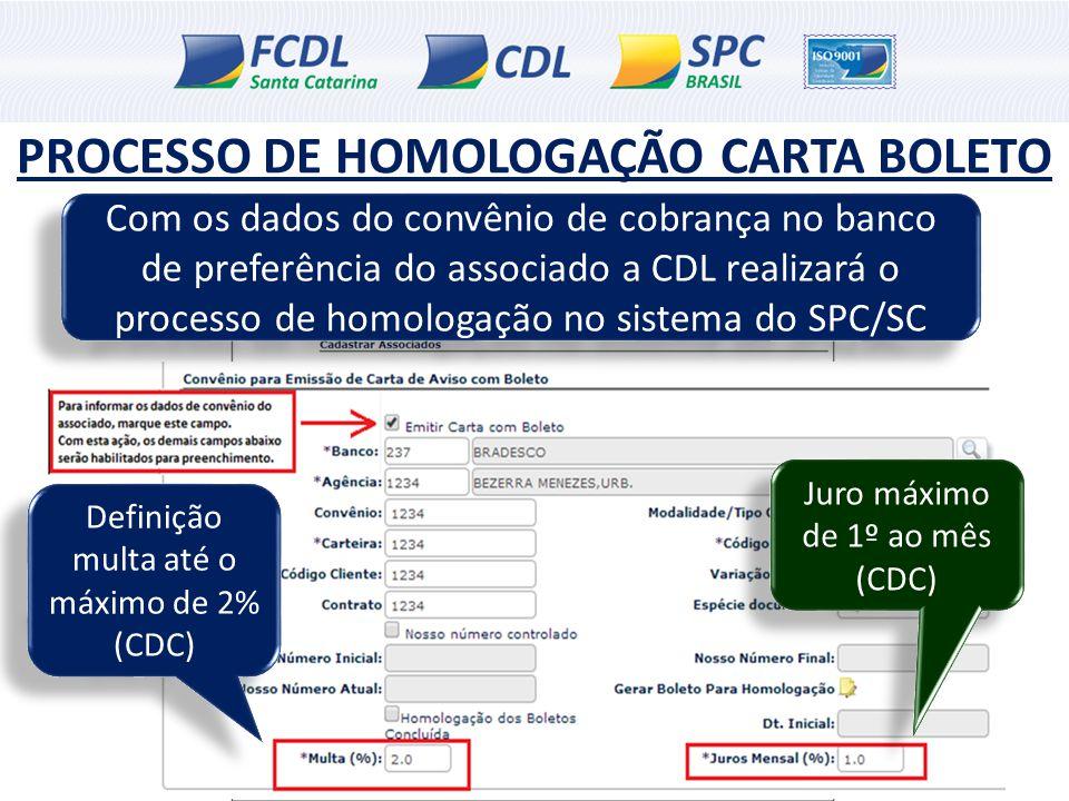 PROCESSO DE HOMOLOGAÇÃO CARTA BOLETO