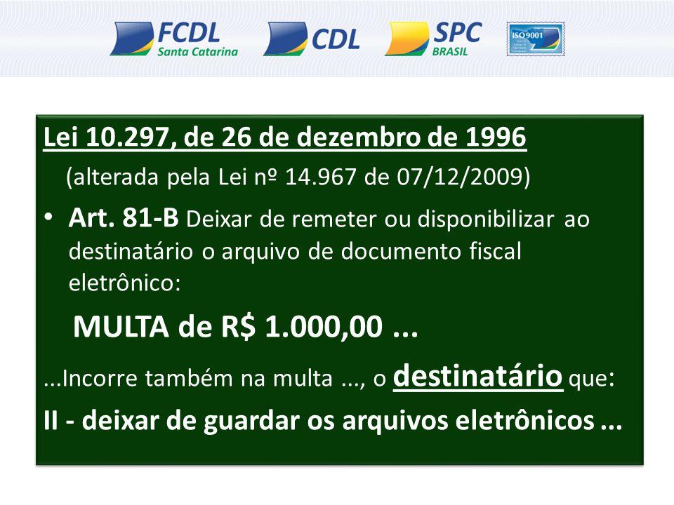 MULTA de R$ 1.000,00 ... Lei 10.297, de 26 de dezembro de 1996