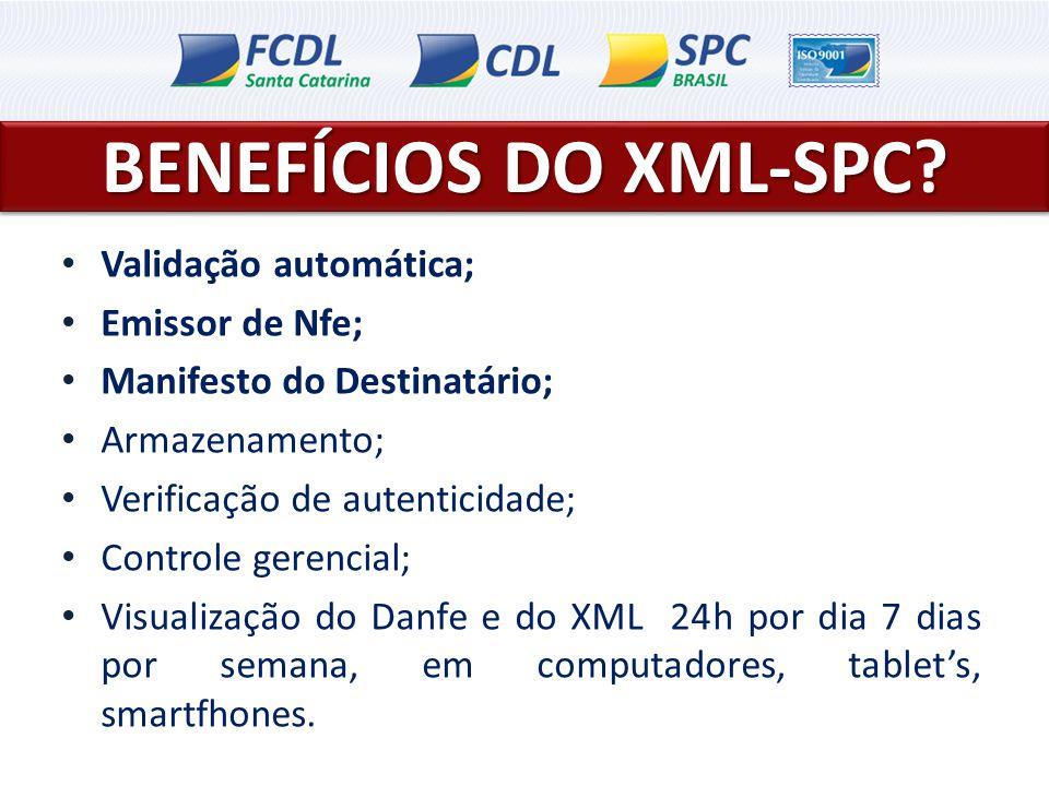 BENEFÍCIOS DO XML-SPC Validação automática; Emissor de Nfe;