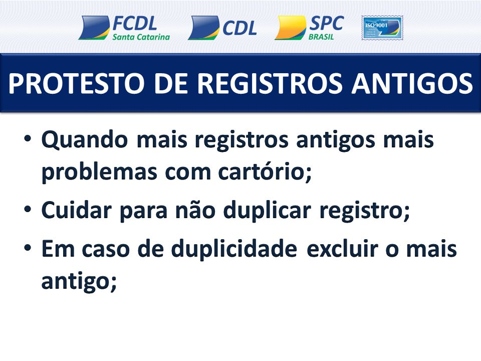 PROTESTO DE REGISTROS ANTIGOS