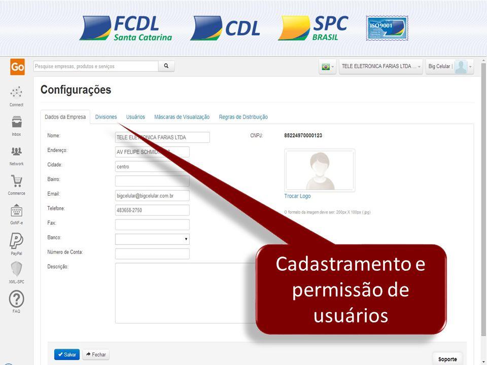 Cadastramento e permissão de usuários