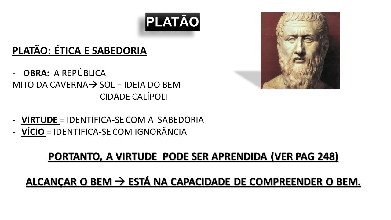 PLATÃO PLATÃO: ÉTICA E SABEDORIA
