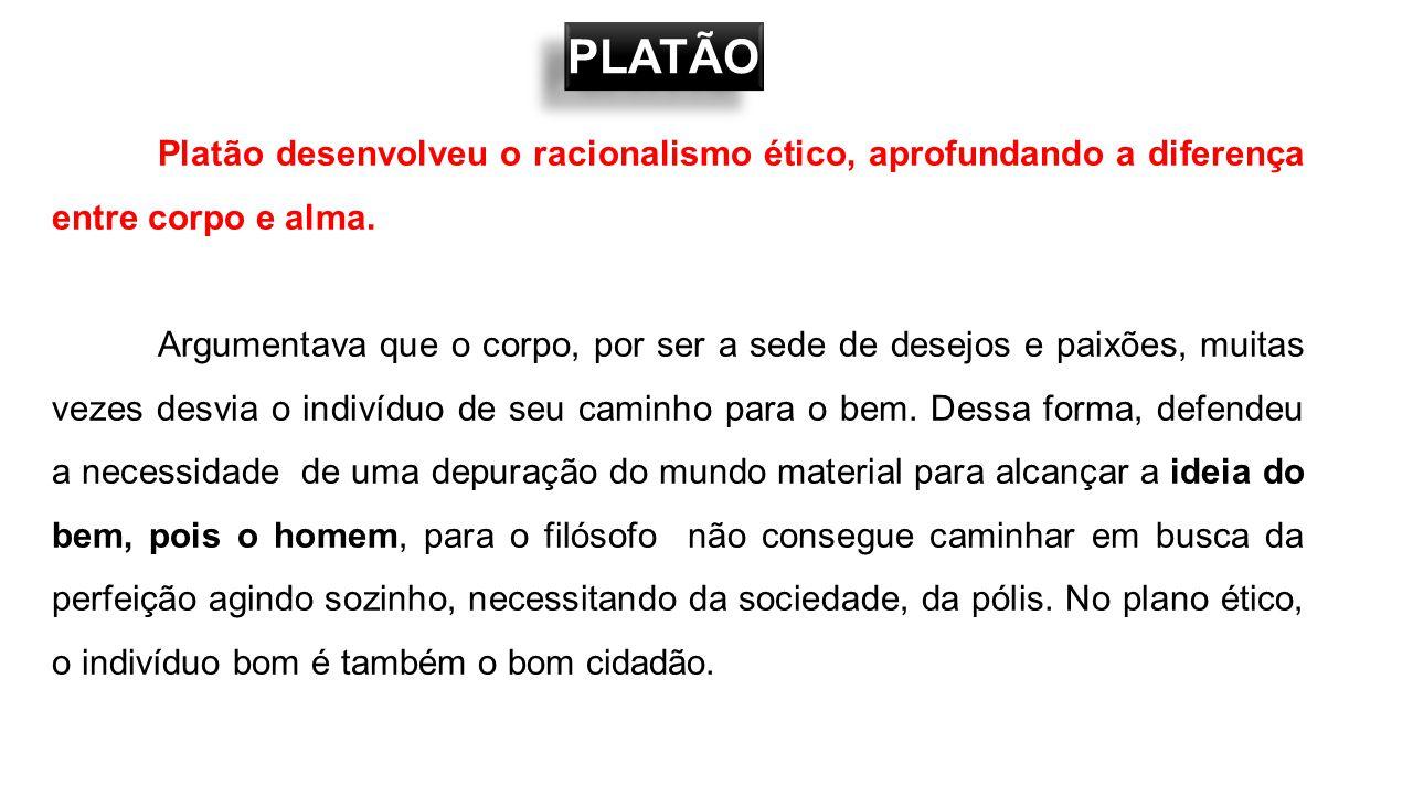 PLATÃO Platão desenvolveu o racionalismo ético, aprofundando a diferença entre corpo e alma.