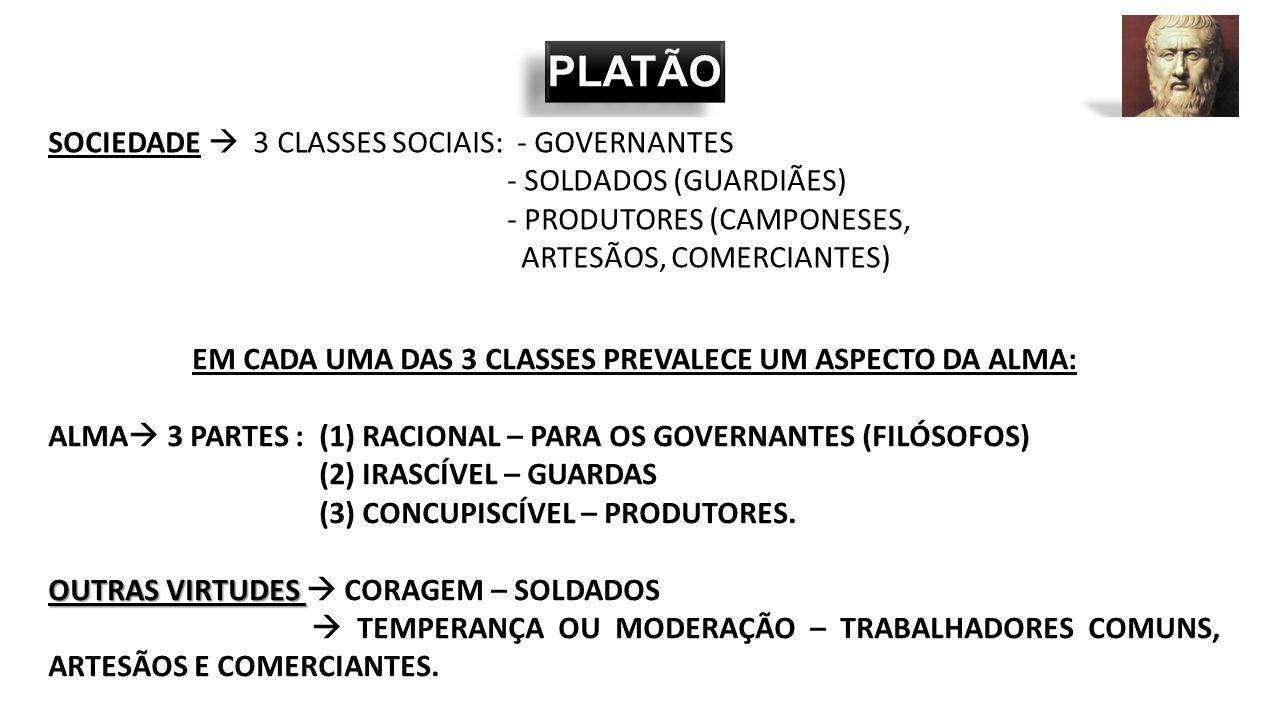 EM CADA UMA DAS 3 CLASSES PREVALECE UM ASPECTO DA ALMA: