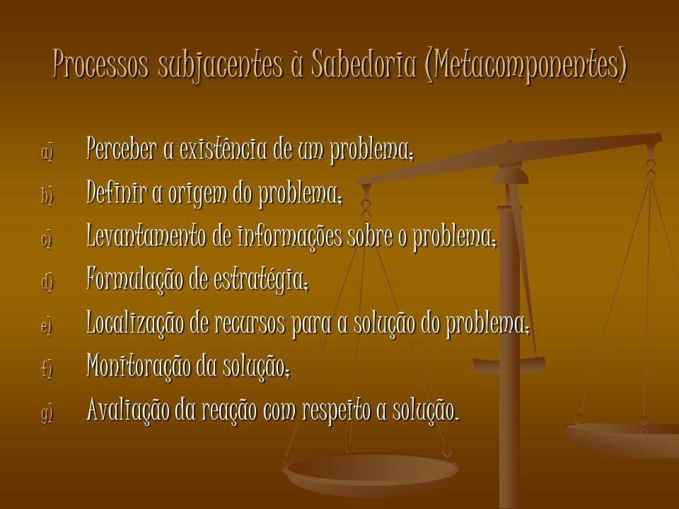 Processos subjacentes à Sabedoria (Metacomponentes)