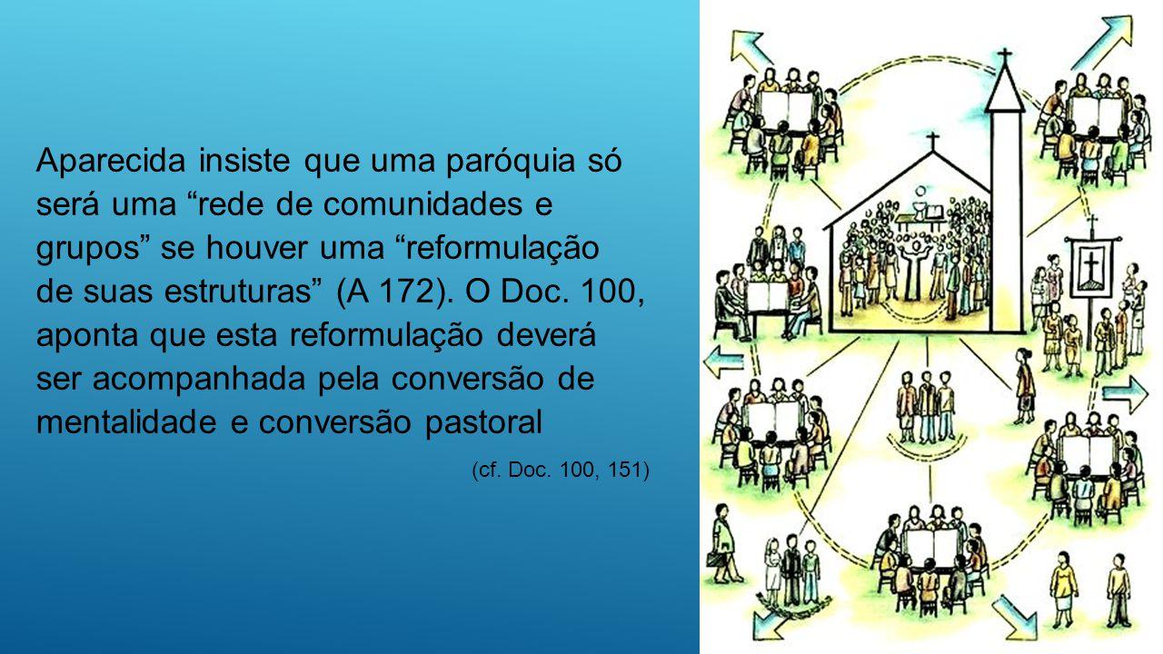 Aparecida insiste que uma paróquia só será uma rede de comunidades e grupos se houver uma reformulação de suas estruturas (A 172). O Doc. 100, aponta que esta reformulação deverá ser acompanhada pela conversão de mentalidade e conversão pastoral