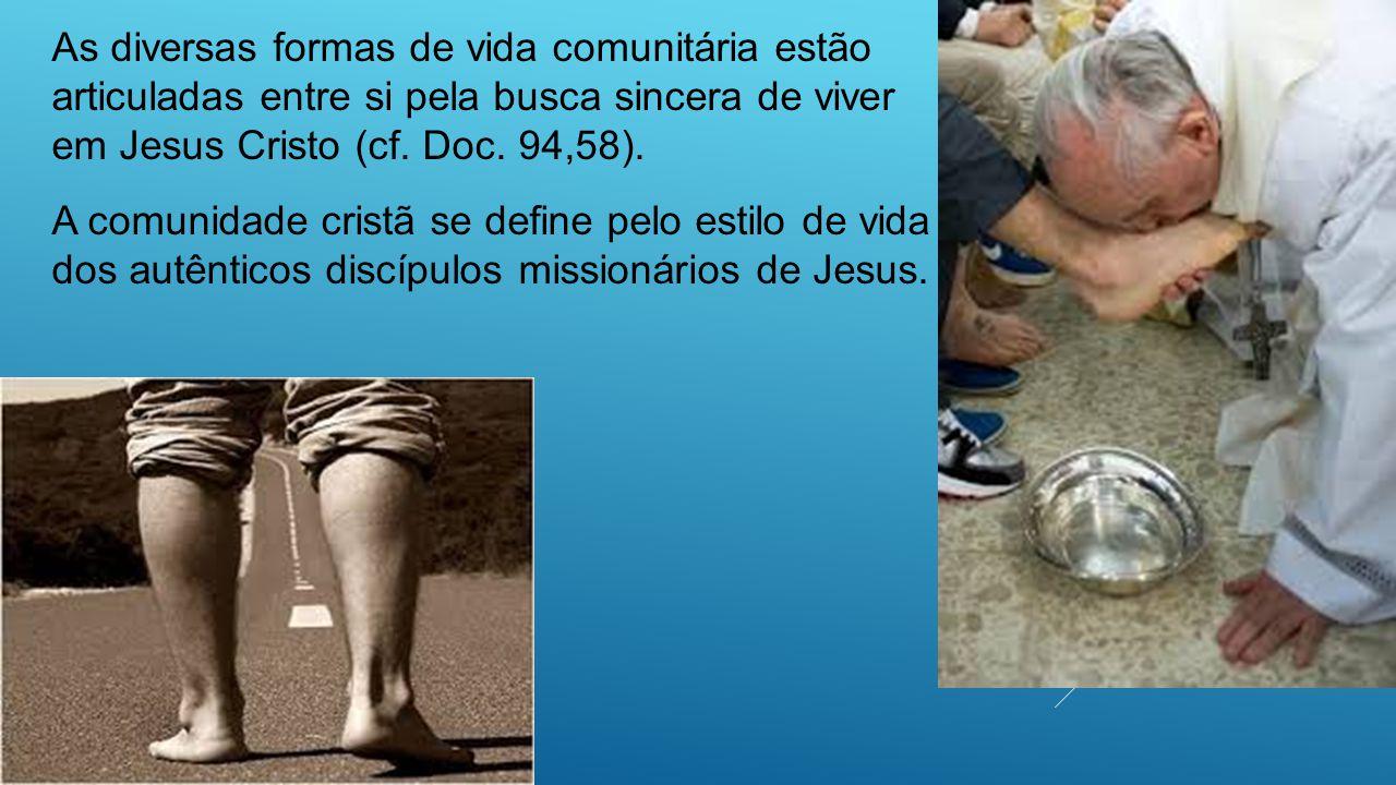 As diversas formas de vida comunitária estão articuladas entre si pela busca sincera de viver em Jesus Cristo (cf. Doc. 94,58).