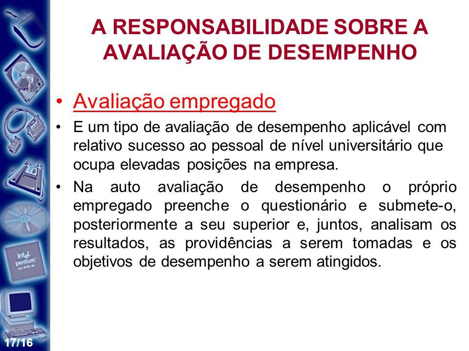 A RESPONSABILIDADE SOBRE A AVALIAÇÃO DE DESEMPENHO