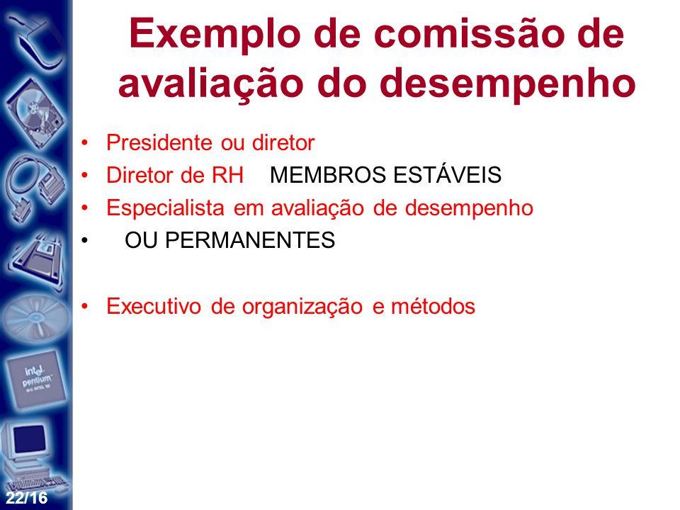 Exemplo de comissão de avaliação do desempenho