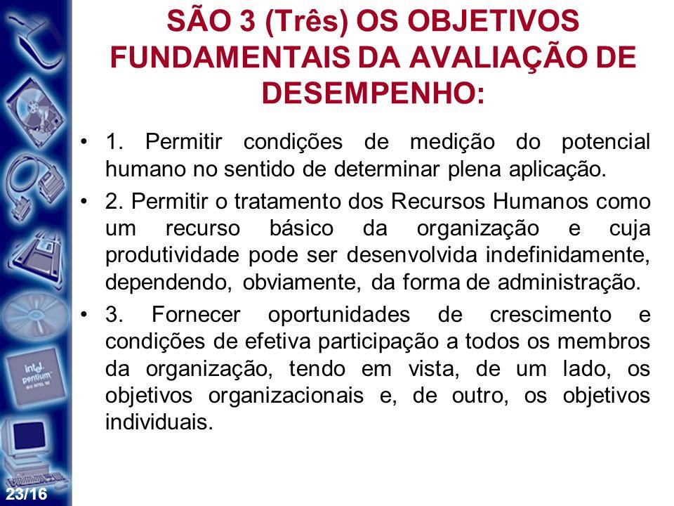 SÃO 3 (Três) OS OBJETIVOS FUNDAMENTAIS DA AVALIAÇÃO DE DESEMPENHO: