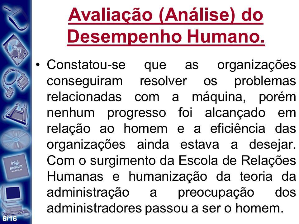Avaliação (Análise) do Desempenho Humano.