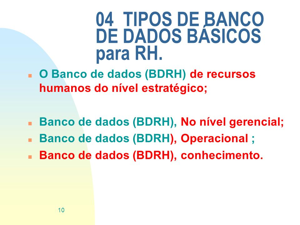 04 TIPOS DE BANCO DE DADOS BÁSICOS para RH.