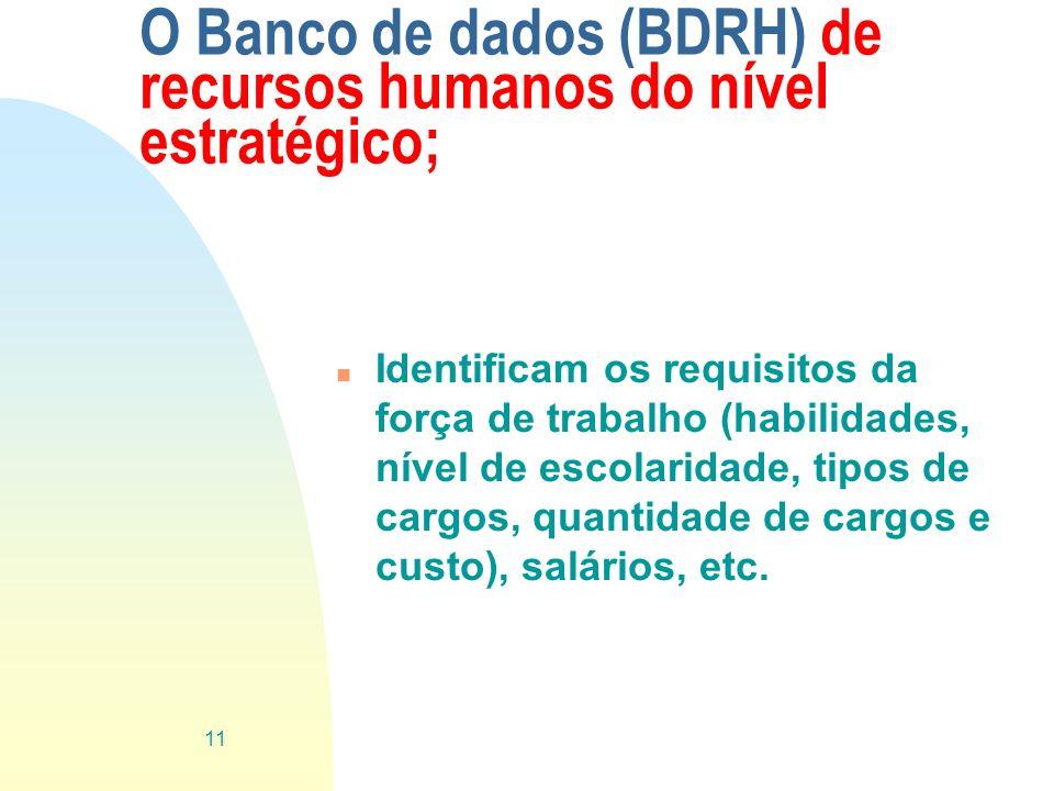 O Banco de dados (BDRH) de recursos humanos do nível estratégico;
