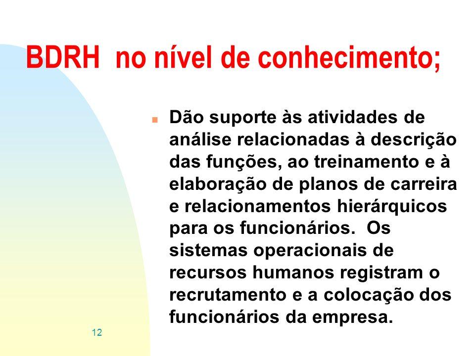 BDRH no nível de conhecimento;